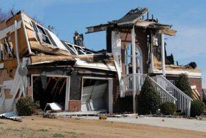 Home damaged after a fire